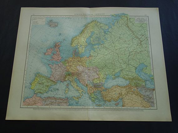 EUROPE antique map LARGE 1899 detailed old map by VintageOldMaps