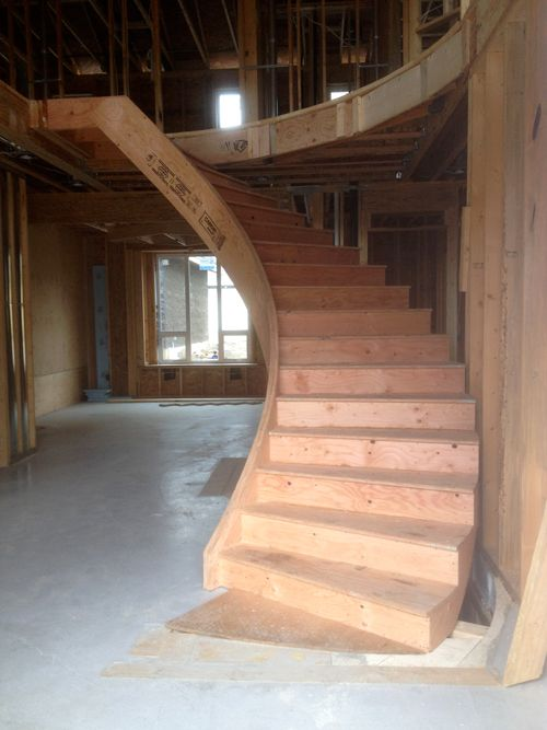 Construction Grade Curved Prefab Stair Install
