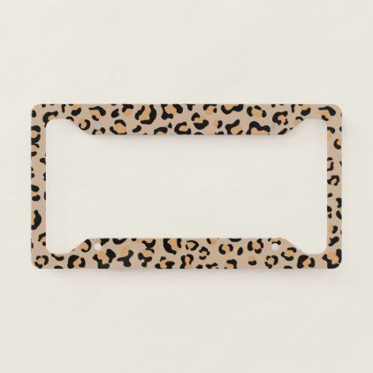 Animal Print, Spotted Leopard - Brown Black License Plate Frame | Zazzle.com