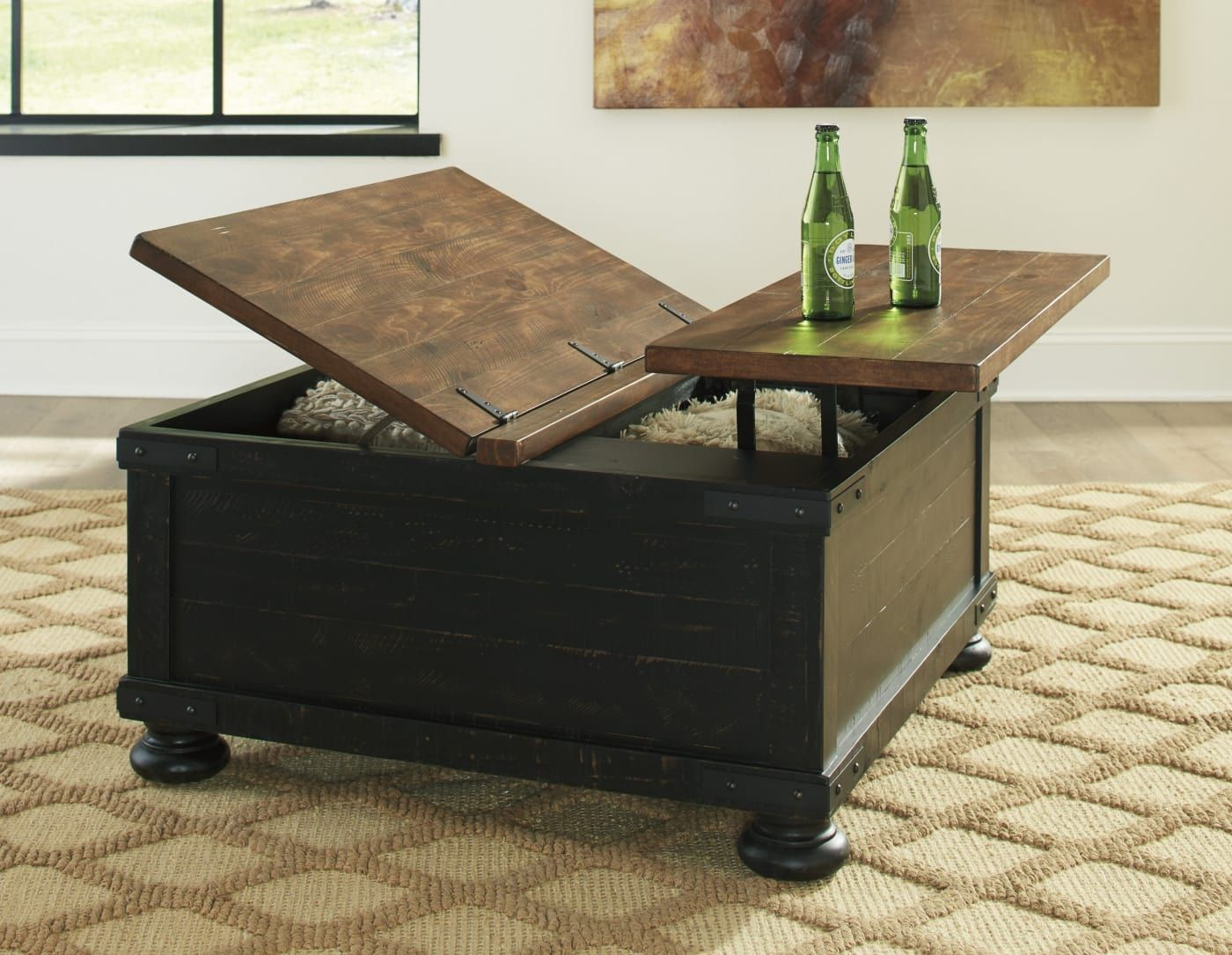 Signature Design By Ashley Valebeck Black Brown Square Lift Top Cocktail Table T468 00 Goedekers Com Coffee Table Lift Top Coffee Table Coffee Table Square [ 1085 x 1400 Pixel ]