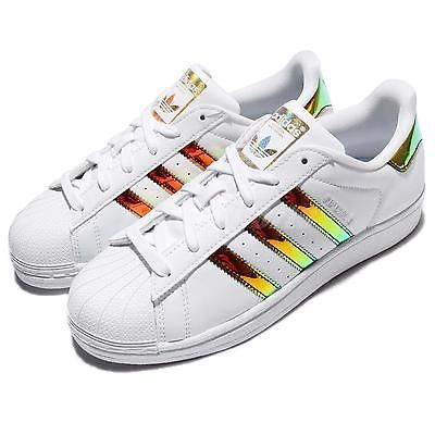 827460679a3e adidas Superstar J Iridescent Hologram Leather Kid Junior Women Shoes CP9837