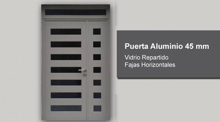 Puerta aluminio 45 mm vidrio repartido fajas for Precio de puertas de aluminio en rosario
