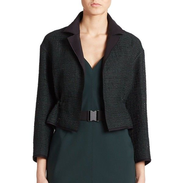 Akris Punto Embroidered-Stripe Drawstring Jacket ($1,560) ❤ liked on Polyvore featuring outerwear, jackets, apparel & accessories, bottle, black peplum jacket, striped jacket, black cropped jacket, black striped jacket and stripe jacket