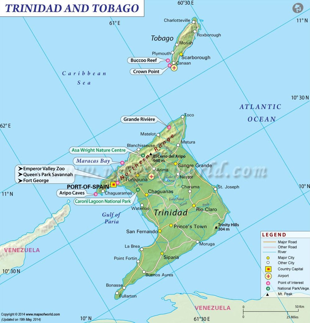 Physical and tourist map of Trinidad and Tobago Mapas Pinterest