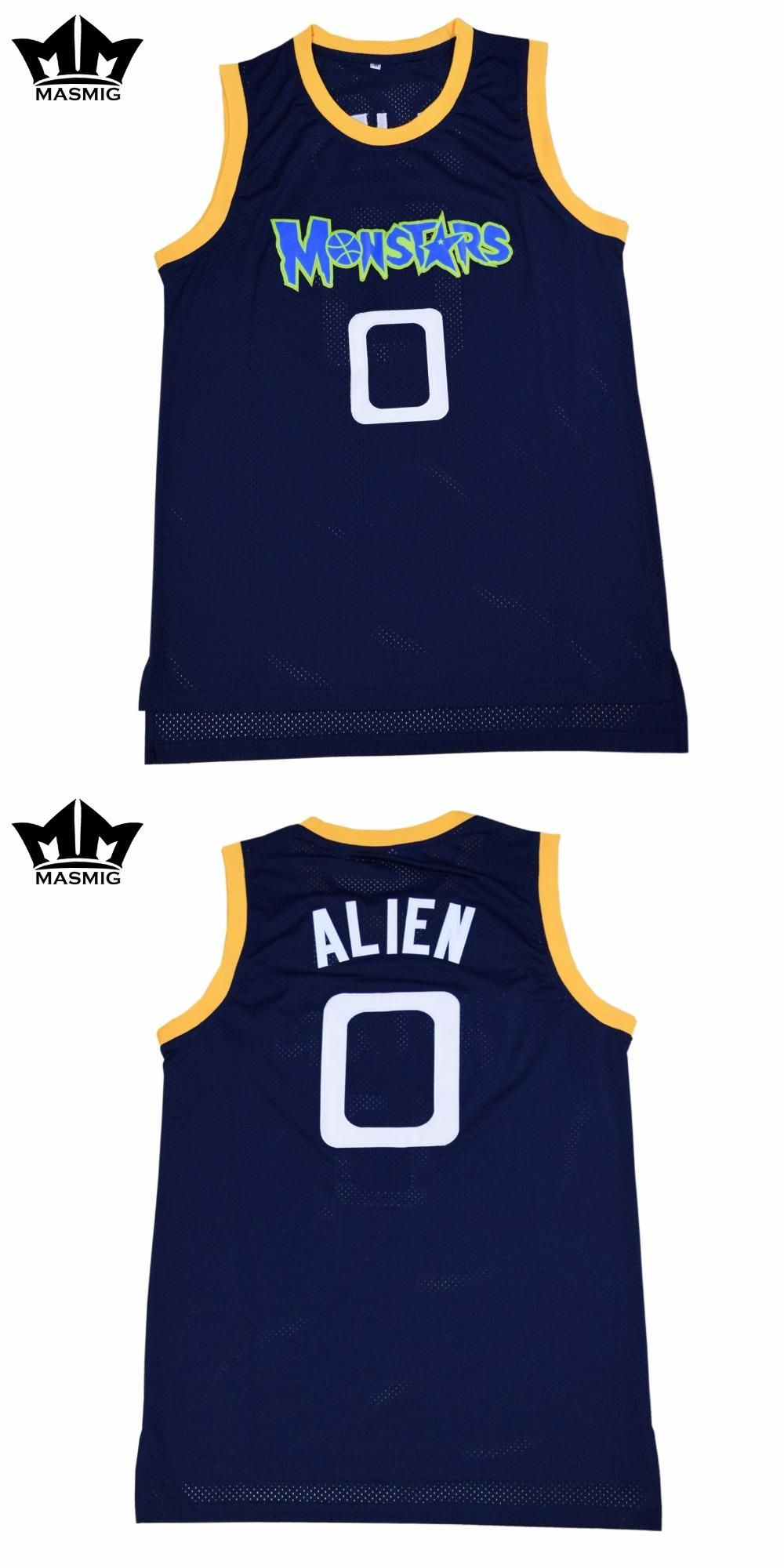8e80447edbba  Visit to Buy  MM MASMIG Alien 0 Monstars Basketball Jersey Dark Blue For  Free