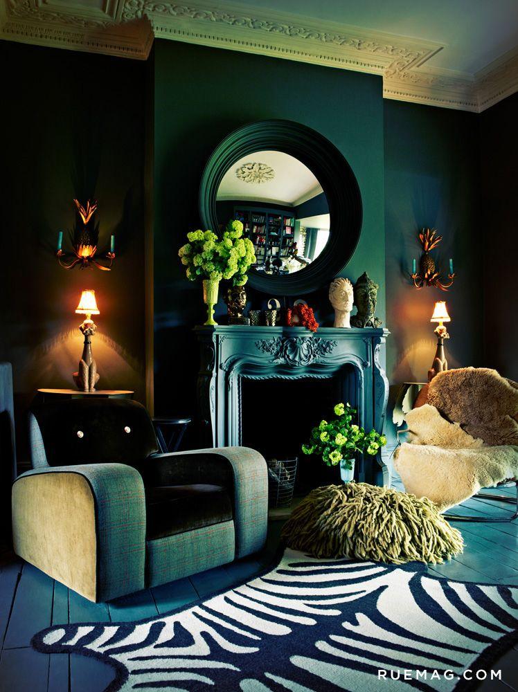 Opulence On A Budget Rue Interior Deco Dark Green Walls Art