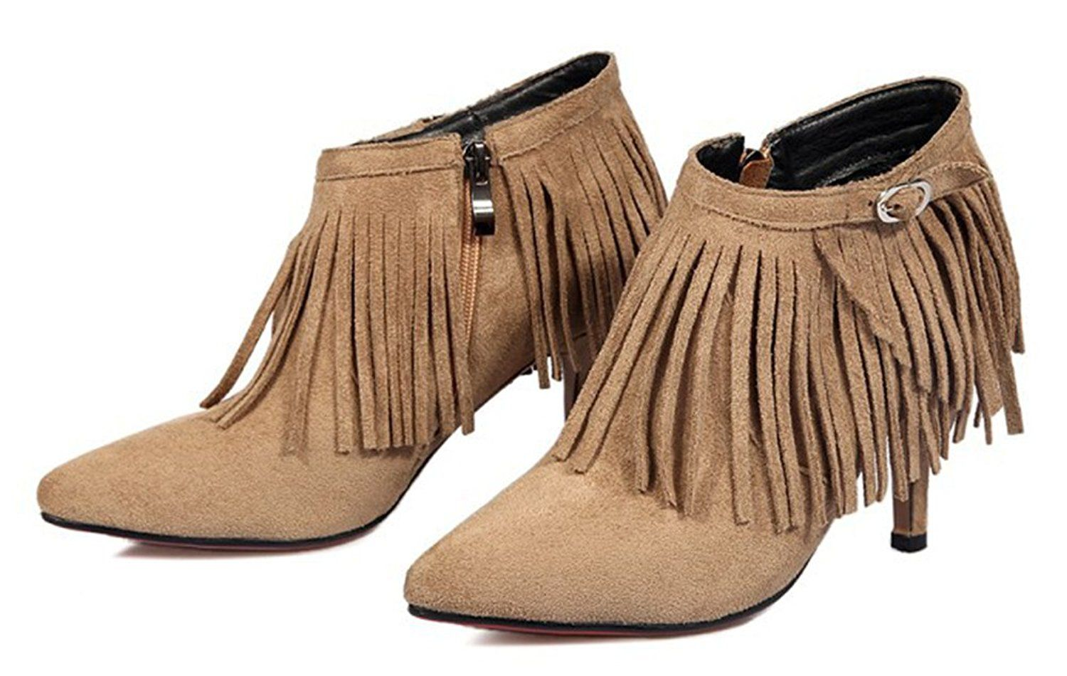 4f4a01da24 Aisun Women's Fashion Fringed Side Zipper Pointed Toe Dress Booties  Stiletto Kitten Heel Ankle Boots Shoes >>> Hurry! Check out this great  shoes : Work ...