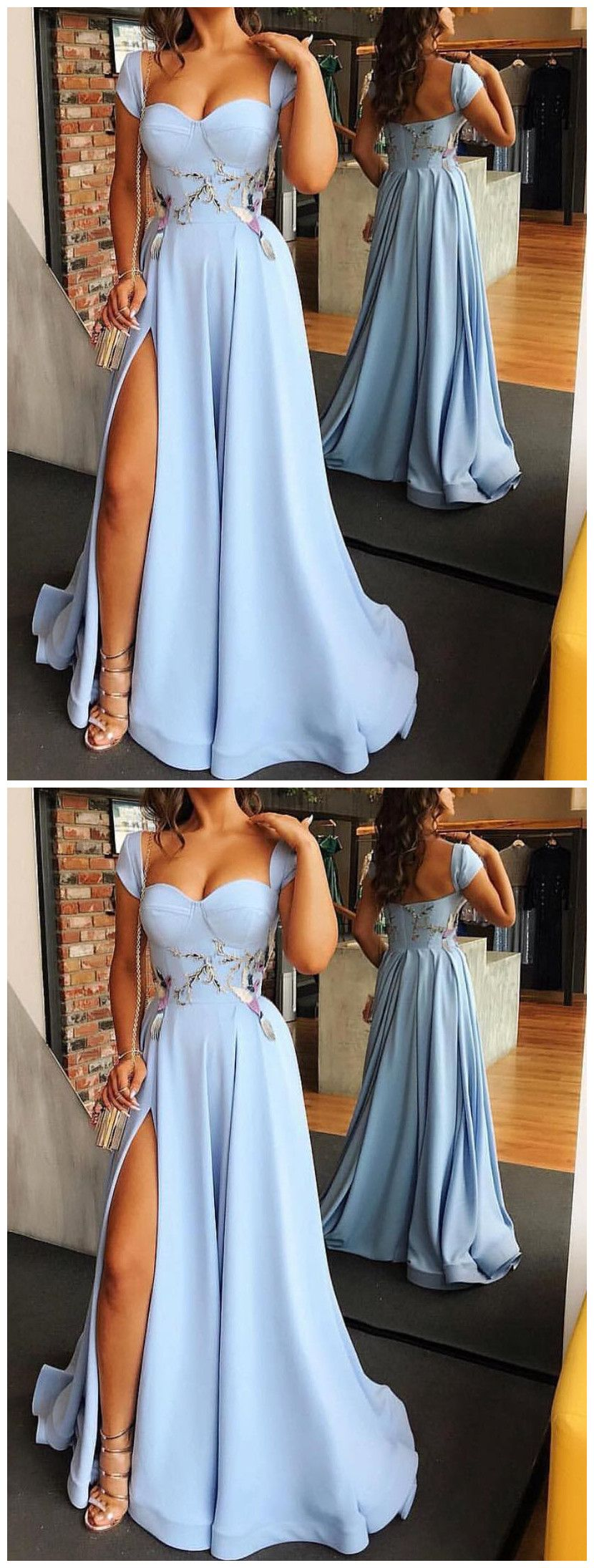aline straps prom dresses with silt blue long prom dresses