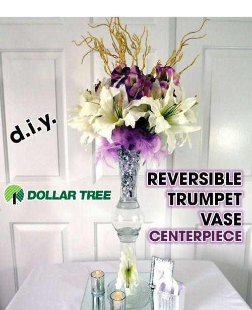 Dollar Tree Diy Reversible Trumpet Vase Centerpiece For Wedding
