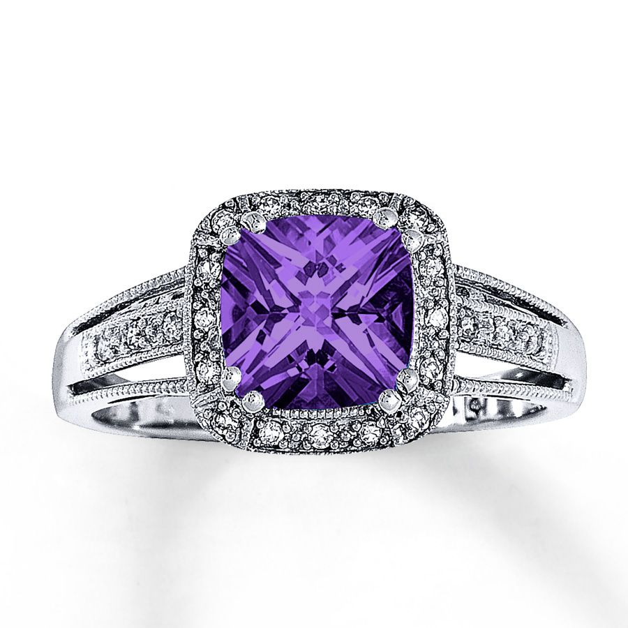 amethyst ring cushion-cut with diamonds 10k white gold | diamonds