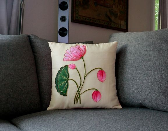 Lively Lotus Hand Painted Decorative Silk Cushion Cover Cushion