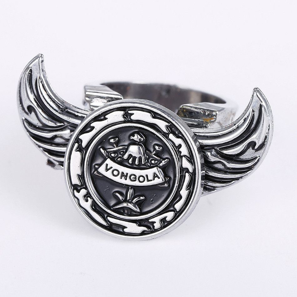 Hot anime hitman reborn logo personality rings angel wings rotatable high quality non fading environmental