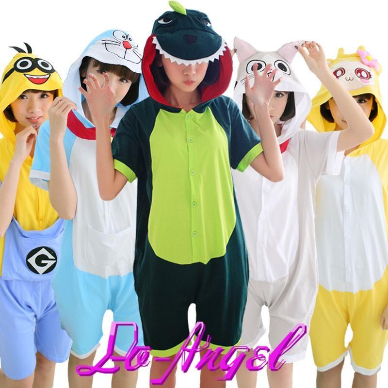 Unisex New Summer Adult Cartoon Animal Stich Totoro Panda Cosplay Onesies Short Sleeve Cotton Pajamas Pijamas Homewear