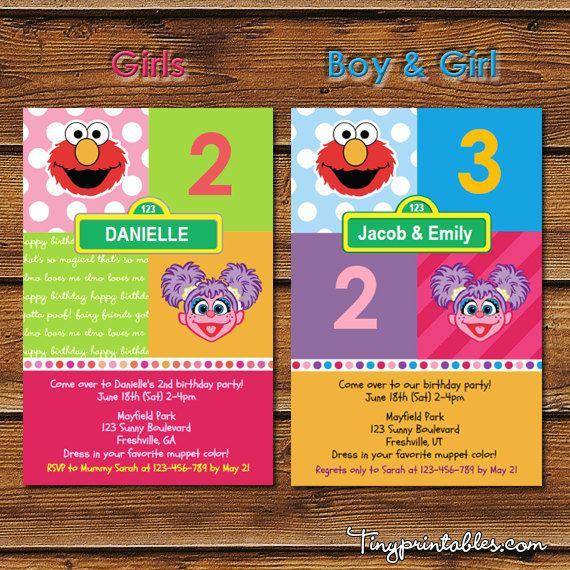 Elmo And Abby Cadabby Birthday Party Invites By