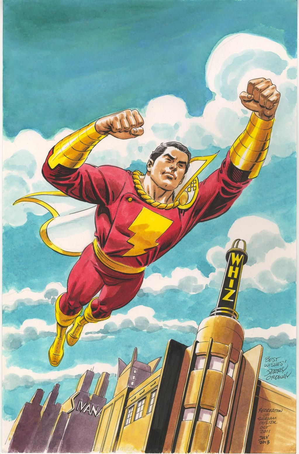 The original Captain Marvel. I hate that a legal battle caused the loss of copyright. THIS is Captain Marvel! Shazam is the wizard who chose him, and bestowed his power upon him.