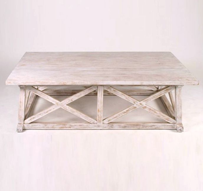Hampton 60 Rectangular Coffee Table White Washed Coffee Table
