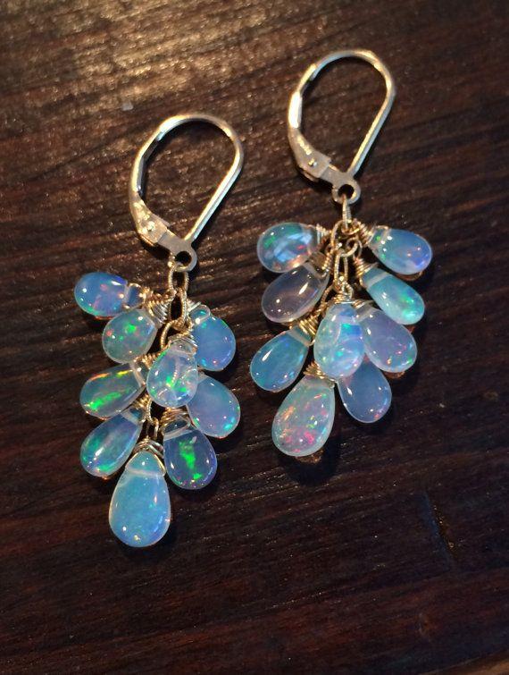 Ethiopian Opal Earrings, Welo Opal, Gold, Genuine Opal, Wire Wrap, Opal Briolette Earrings, Dangle Earrings, Gemstone Earrings, Bridal Nine stones on each
