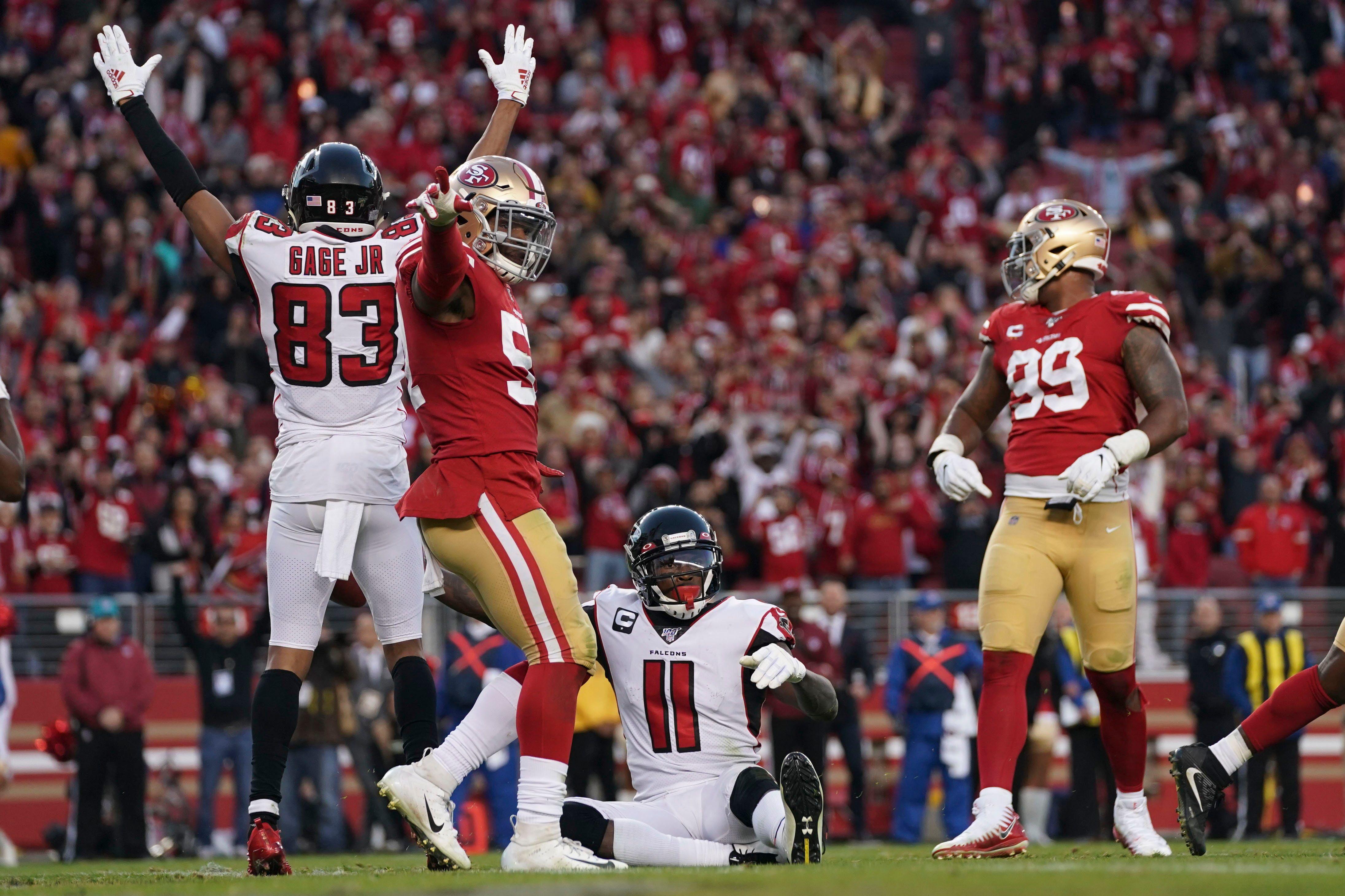 Falcons Stun 49ers On Julio Jones Score In Wild Game Ending Sequence Julio Jones Sports Top Nfl
