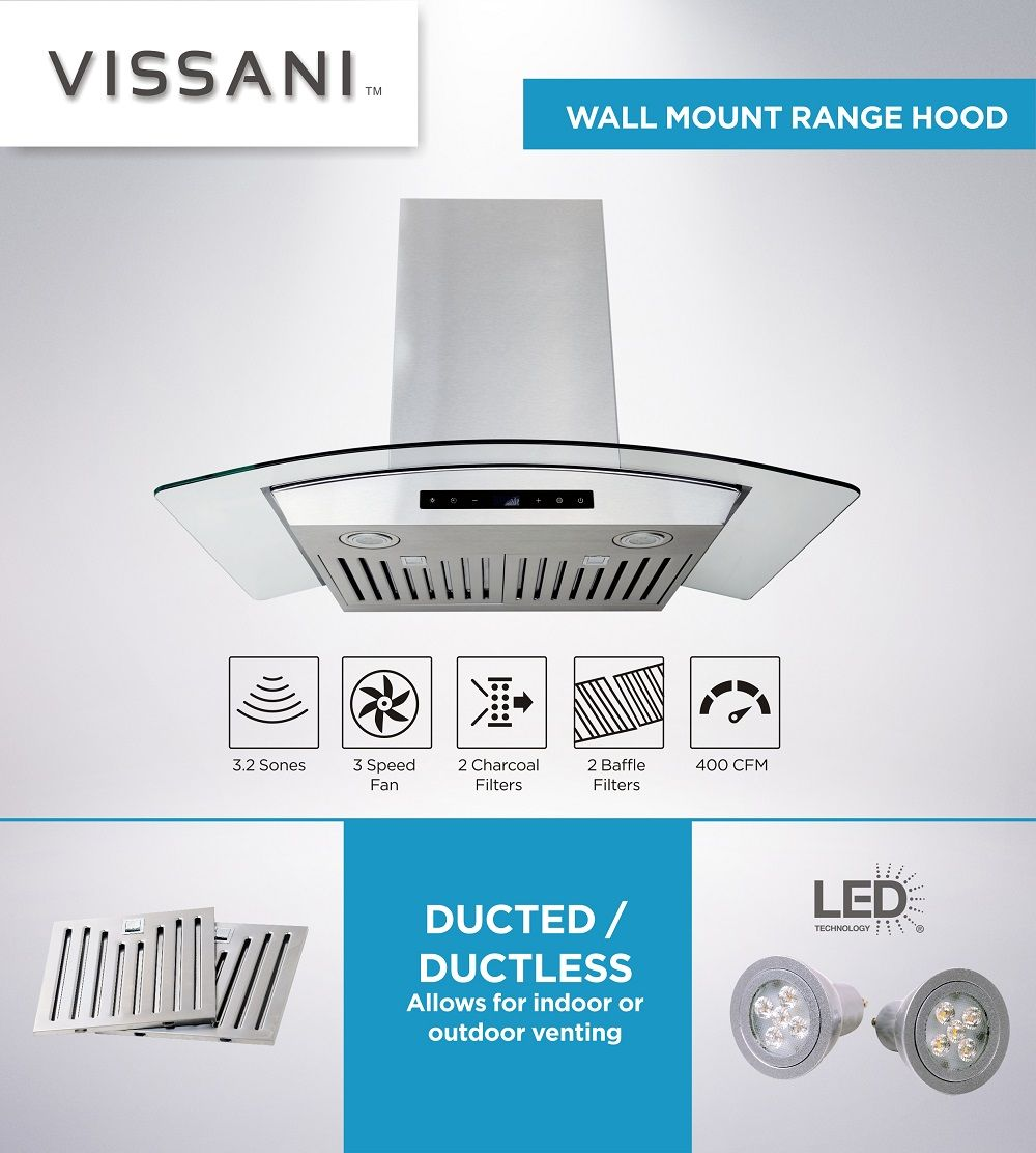 Vissani 30 In W Convertible Glass Wall Mount Range Hood With 2 Charcoal Filters In Stainless Steel Wg1276 The Home Depot Wall Mount Range Hood Range Hood Wall Mount
