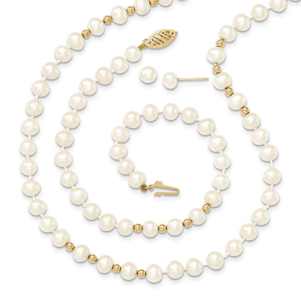 K yellow gold bead mm fresh water cultured pearl necklace