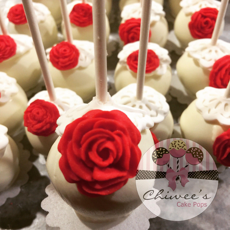 Vintage theme cake popsshabby chic cake popsred