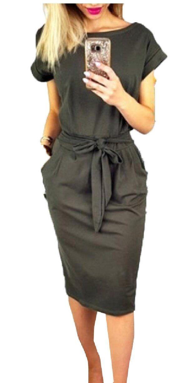 OMZIN Women/'s Casual Pencil Dress Work Wrap Dress with Belt