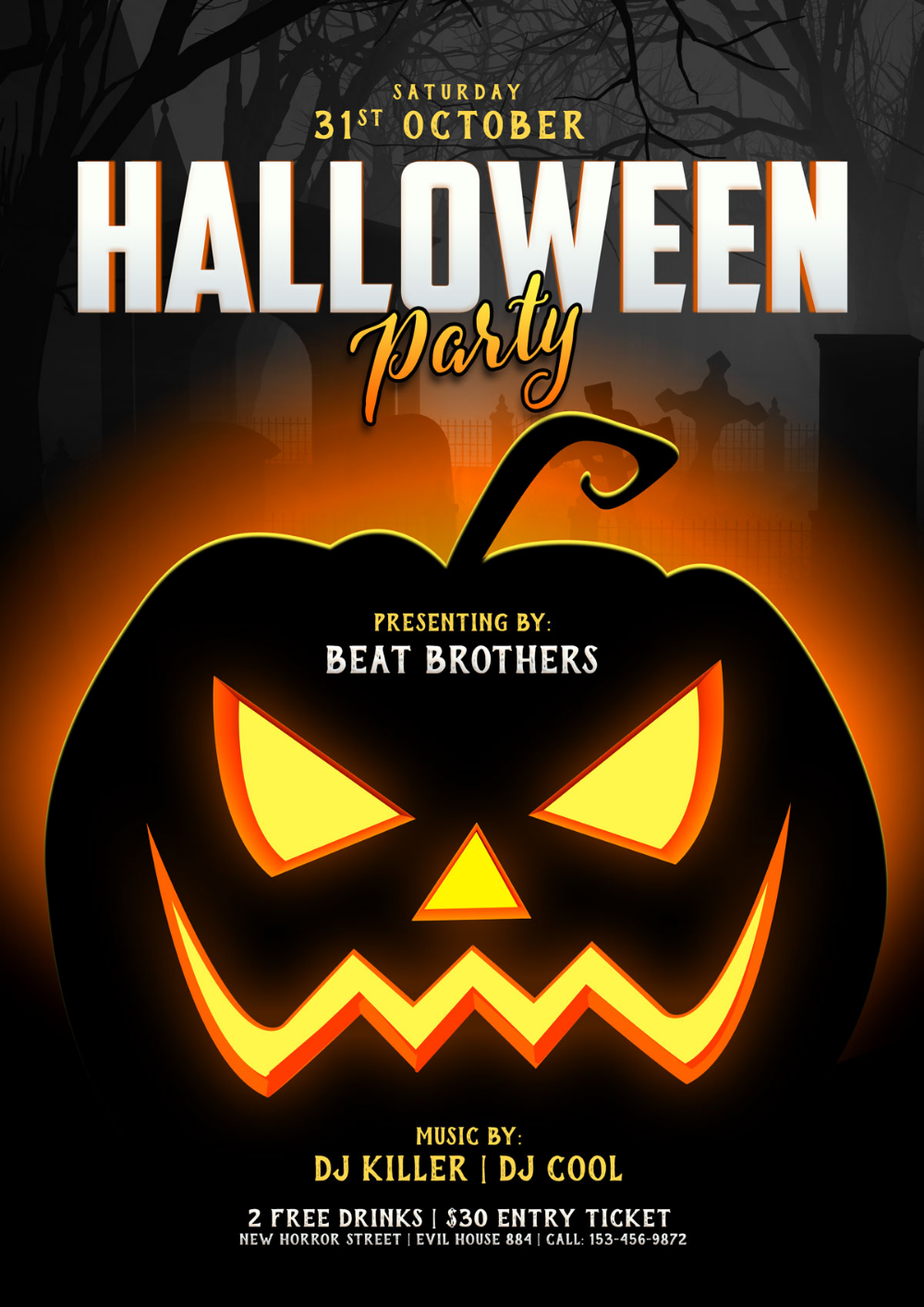 Free Halloween Party Poster / Flyer Design