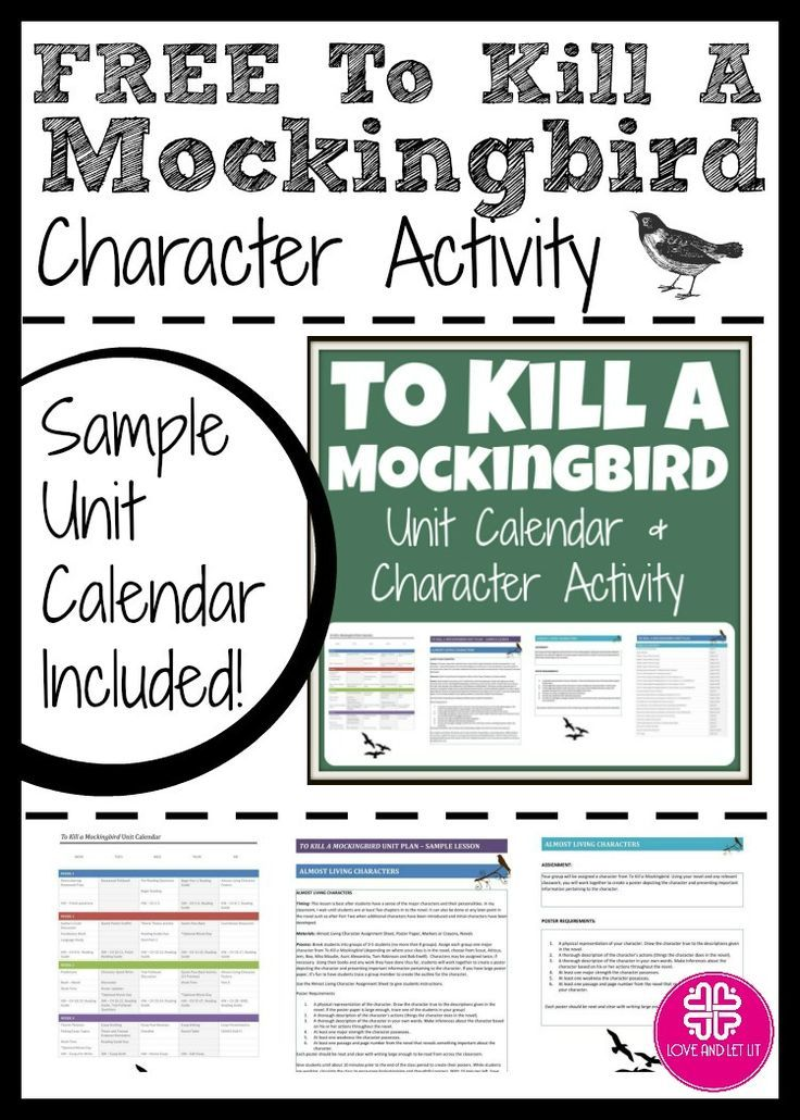Teach To Kill A Mockingbird With This Free Character Activity And