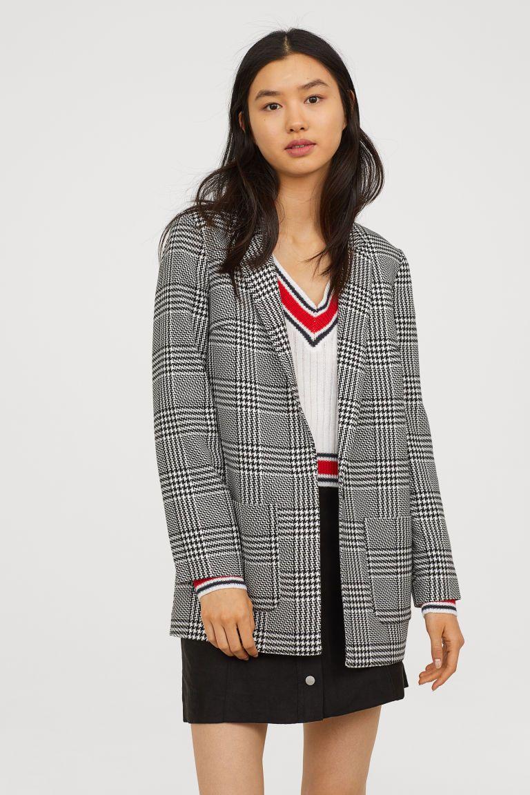 6aaac81da593 Pattern-weave Jacket   Fresh & Familiar   Blazer dress, Black white ...