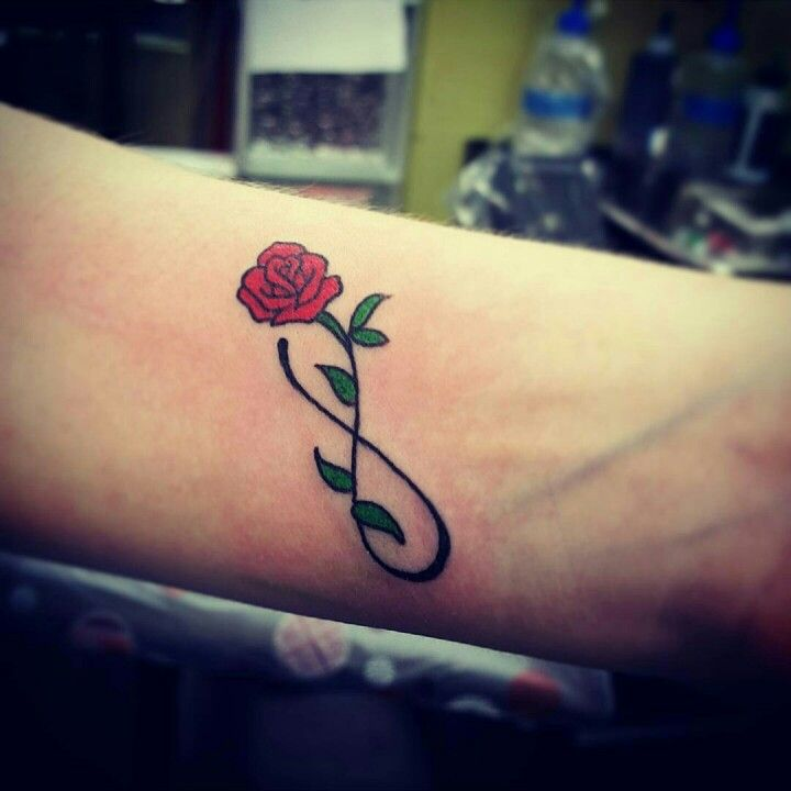 10 14 15 Red Rose Infinity Wrist Tattoo Rose Tattoos Pinterest