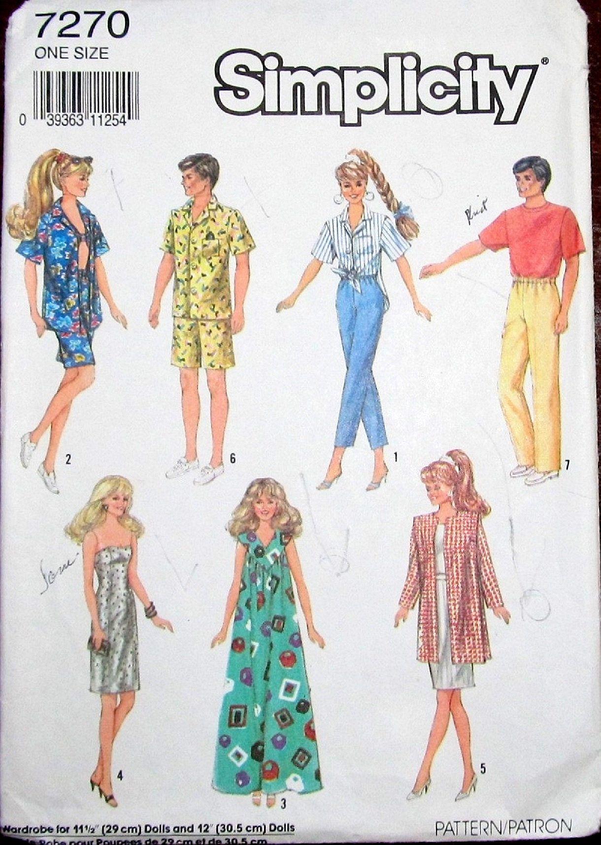 Vintage Craft Sewing Pattern Simplicity 7270 Ken Barbie 11 5 12