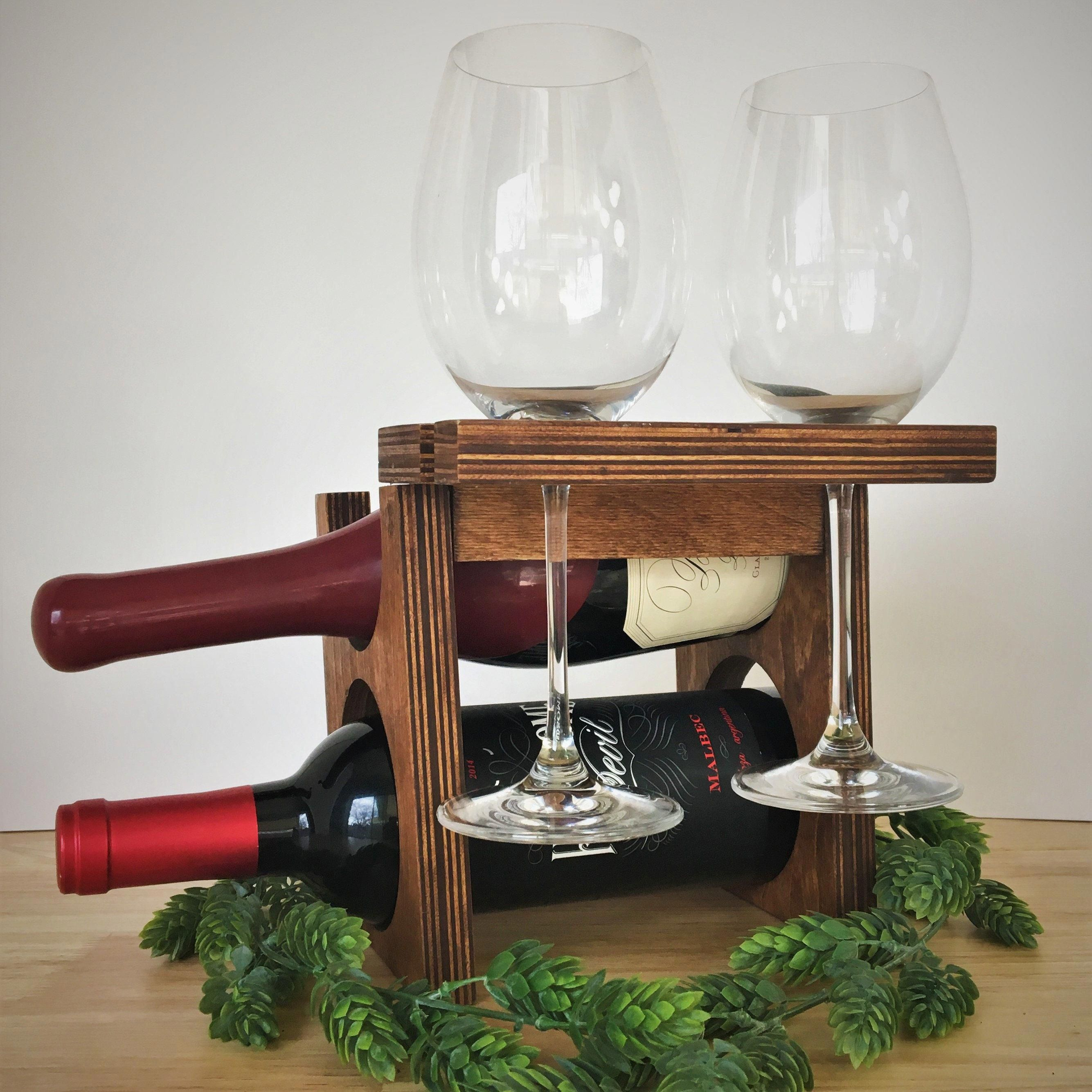 Vintage Wooden Table Top Wine Rack With Wine Glass Holder Antique