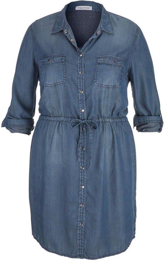 Plus Size Chambray Shirtdress In Dark Wash Plus Size Fashion