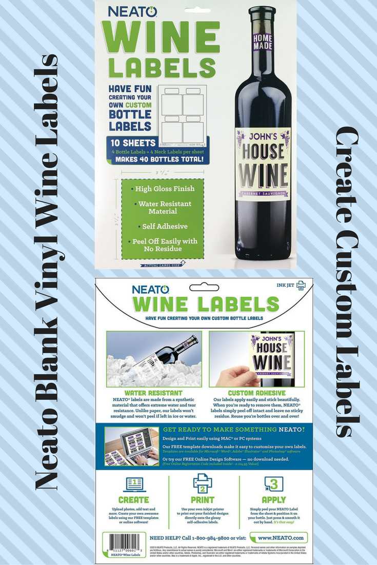 Neato Blank Vinyl Wine Bottle Labels