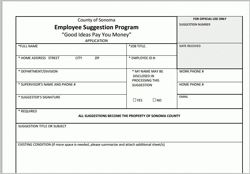 Employee Suggestion Form Dolap Magnetband Co Throughout Ideas
