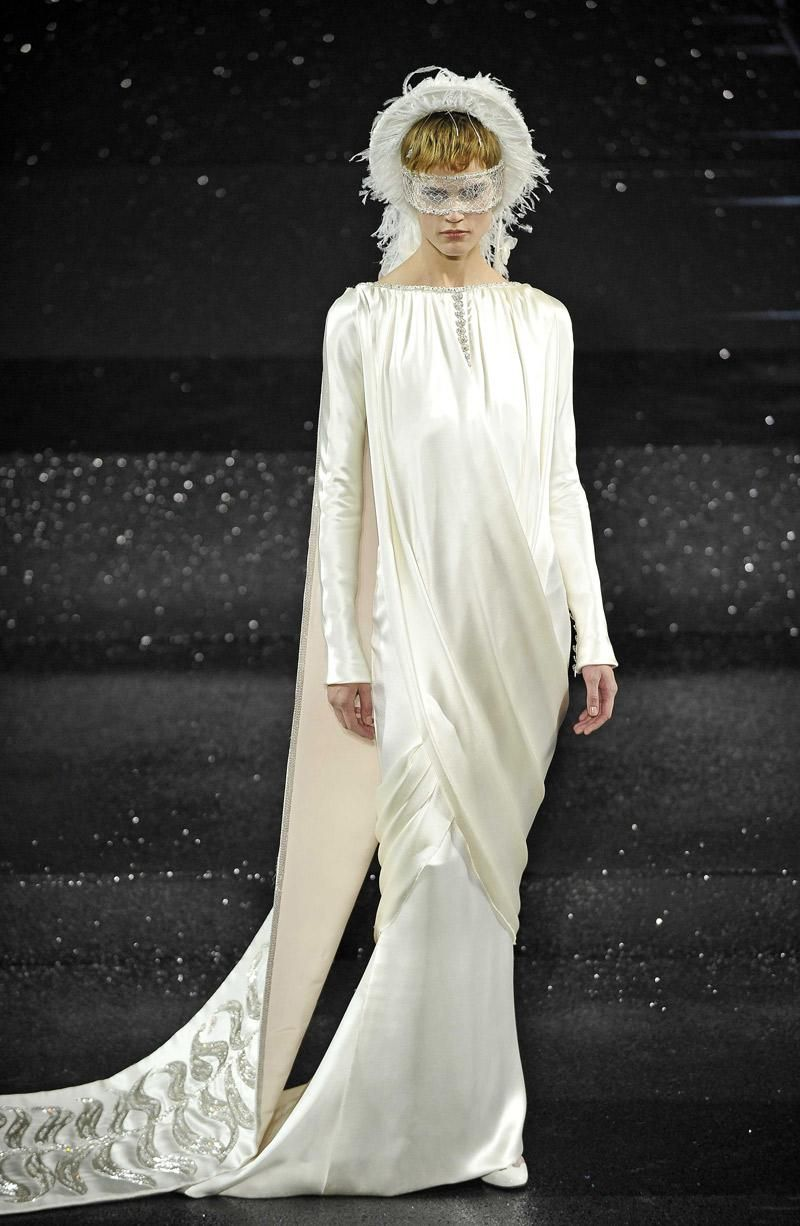 Dutch model Saskia de Brauw was draped in silk to showcase the beautiful bridal look for autumn/winter 2011