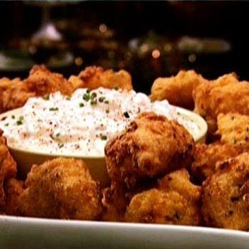 Shrimp Hushpuppies With Vidalia Onion Dip Recipe Food Network Recipes Food Recipes Vidalia Onions