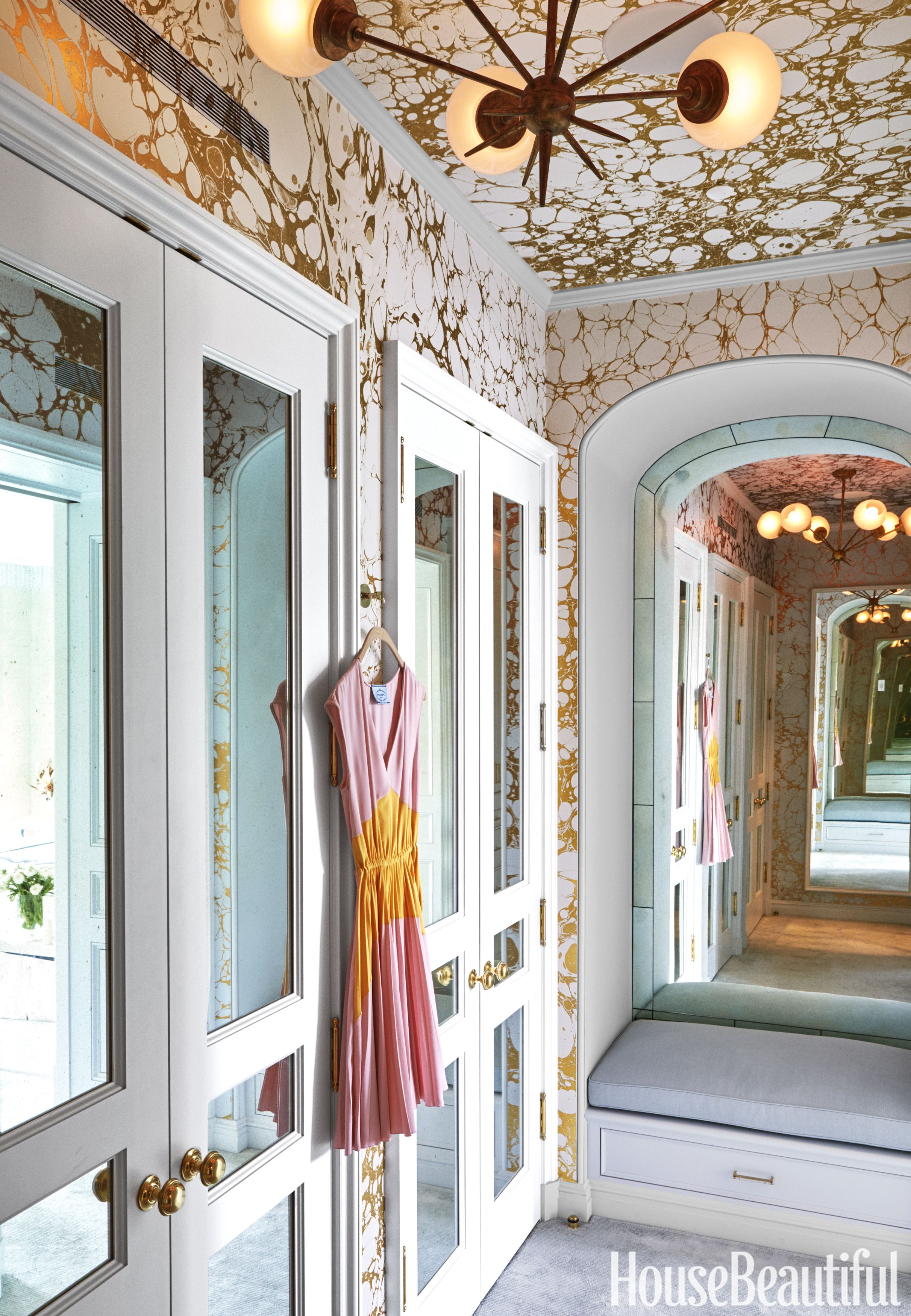 Closet - Celerie Kemble - Calico Wallpaper Ceiling Mirrored Doors