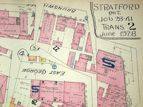1950 Rare Vintage Map Of Stratford Ontario No 2 Street And