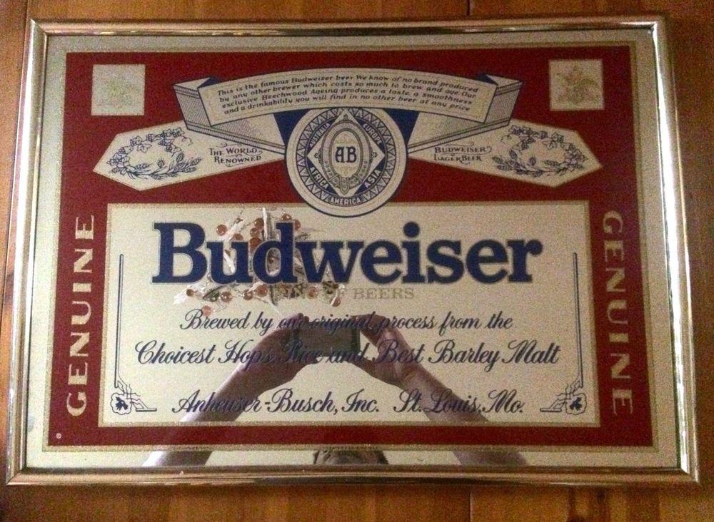Vintage Budweiser Mirror Sign Beer Bar Pub Anheuser Busch