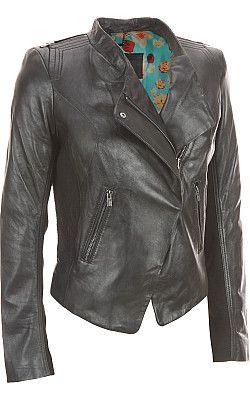 Black Rivet Lamb Moto Jacket w/ Textured Panels - Wilsons Leather