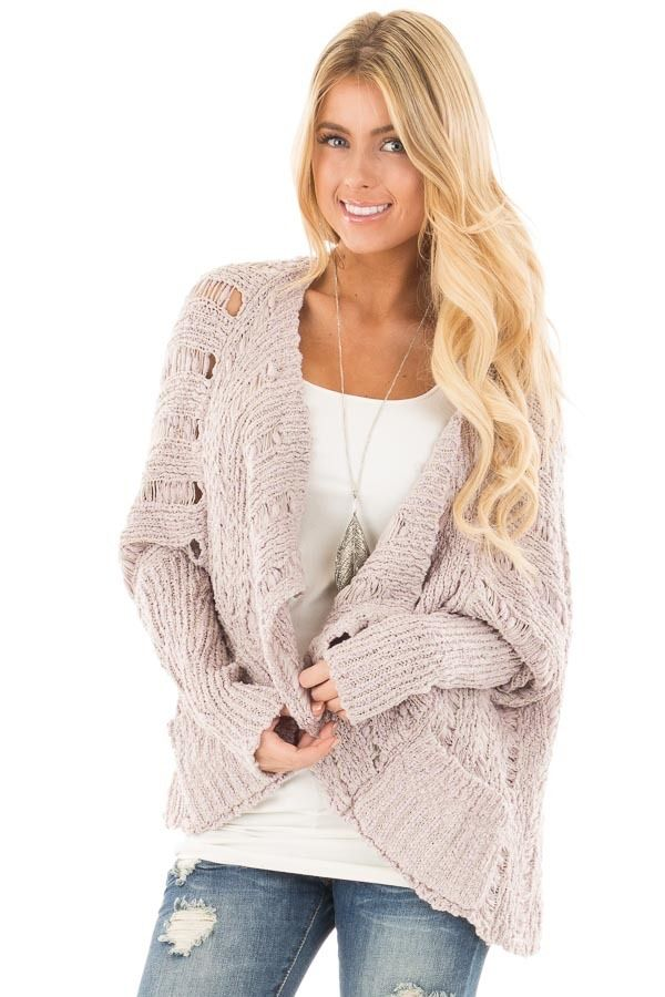 d921399a895c0 Lime Lush Boutique - Light Mauve Bolero Knit Sweater with Pockets