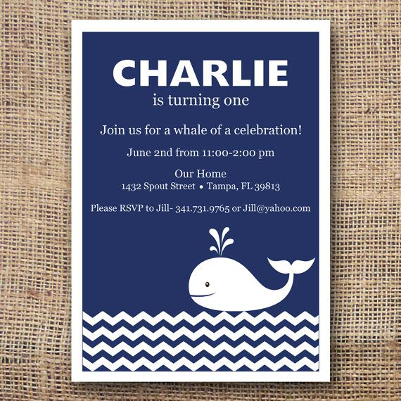 Printable Whale First Birthday Invitation By Thepitterpatterpress
