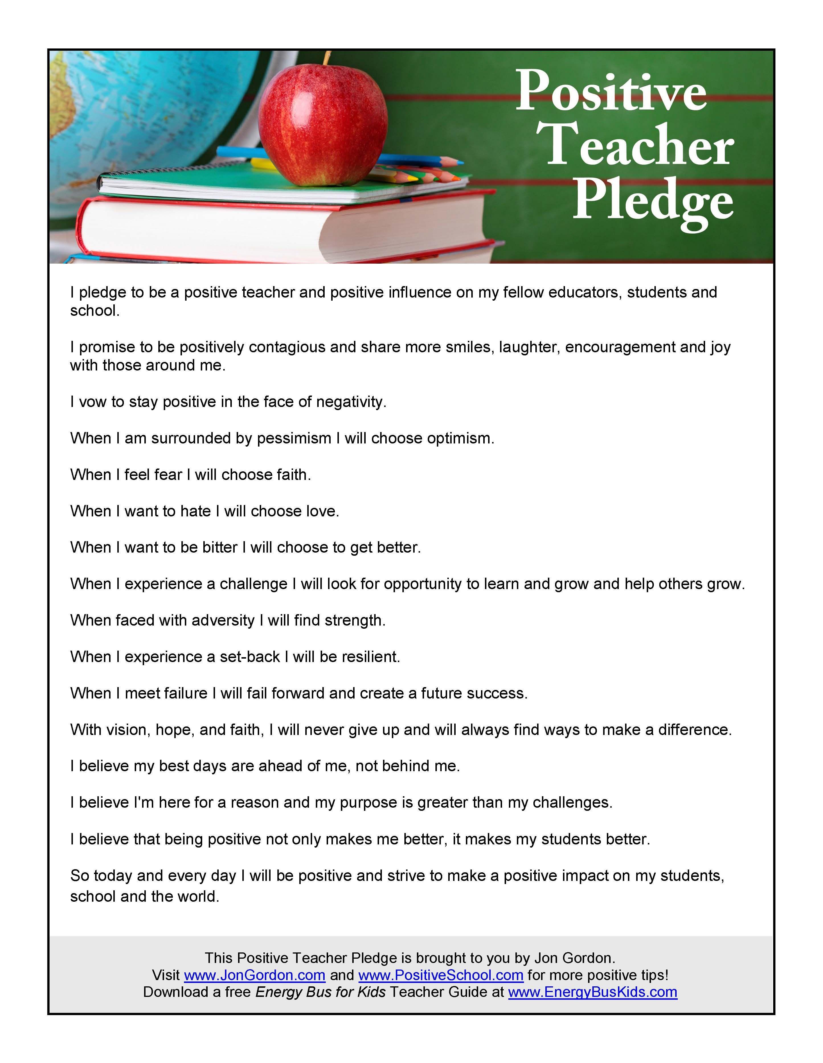 Positive Teacher Pledge Motivation Education