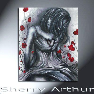 BEAUTIFUL Emotional Black White Gray Woman With  by sherryarthur, $75.00
