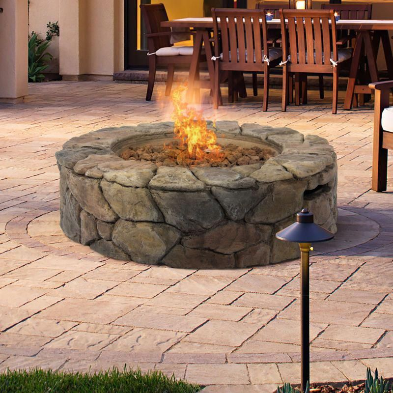 Bcp Stone Design Fire Pit Outdoor Home Patio Gas Firepit Patio Firepit Home Outdoor Design Fire Stone Stone Fire Pit Gas Fire Pits Outdoor Backyard Fire