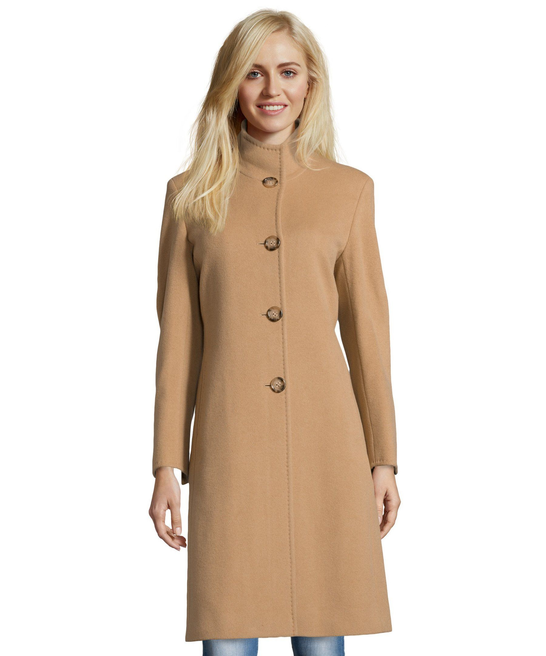 Cinzia Rocca camel wool and cashmere blend stand collar button ...