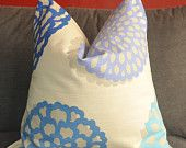 Pillow Cover, Decorative Pillow, Throw Pillow, Toss Pillow, Blue Daisy, Periwinkle Dahlia, Flowers, Home Furnishing, Home Decor