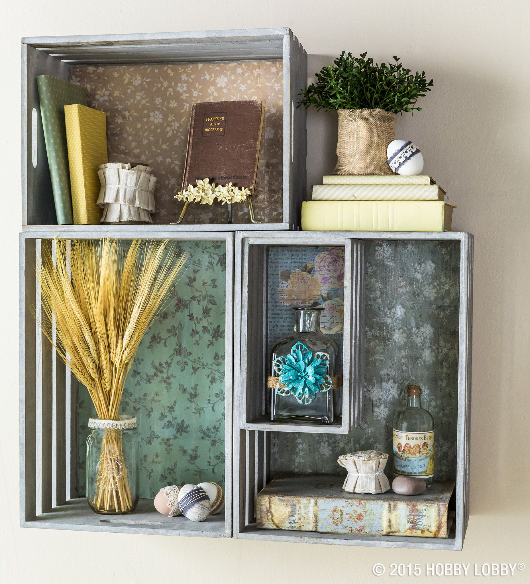 Heres A Storage Solution Use Scrapbook Paper Lined Wooden Crates As Rustic