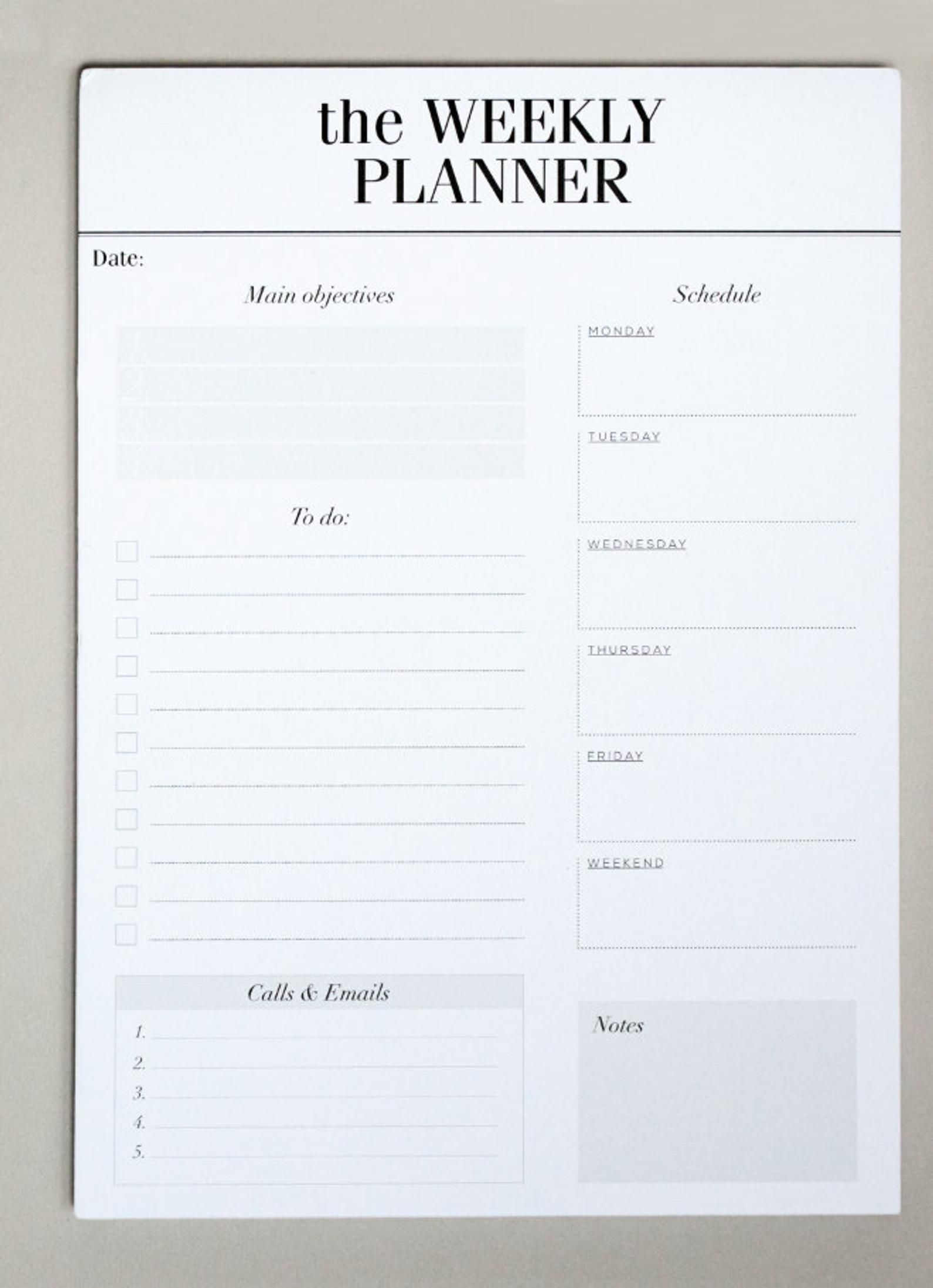Weekly Planner Notepad Desk Pad Planner To Do List Etsy